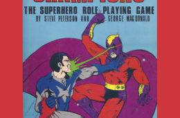 cover of the 1981 printing of the first edition of the Champions superhero roleplaying game rulebook by Hero Games